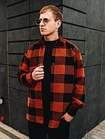Рубашка мужская модная стильная теплая зимняя кашемировая в клетку красная Оверсайз, фото 1