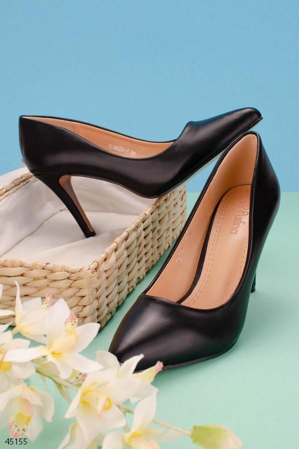 Тільки 37 р! Жіночі туфлі чорні човники на підборах 9 см еко шкіра