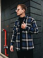 Рубашка мужская модная стильная теплая зимняя кашемировая в клетку синяя Оверсайз, фото 1