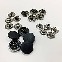 Кнопка L-15 цв черный никель шляпка пластик цв черный 15мм (уп 72шт)