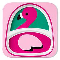 Детская тарелка Skip Hop Скип Хоп Фламинго, мелкая с разделителем
