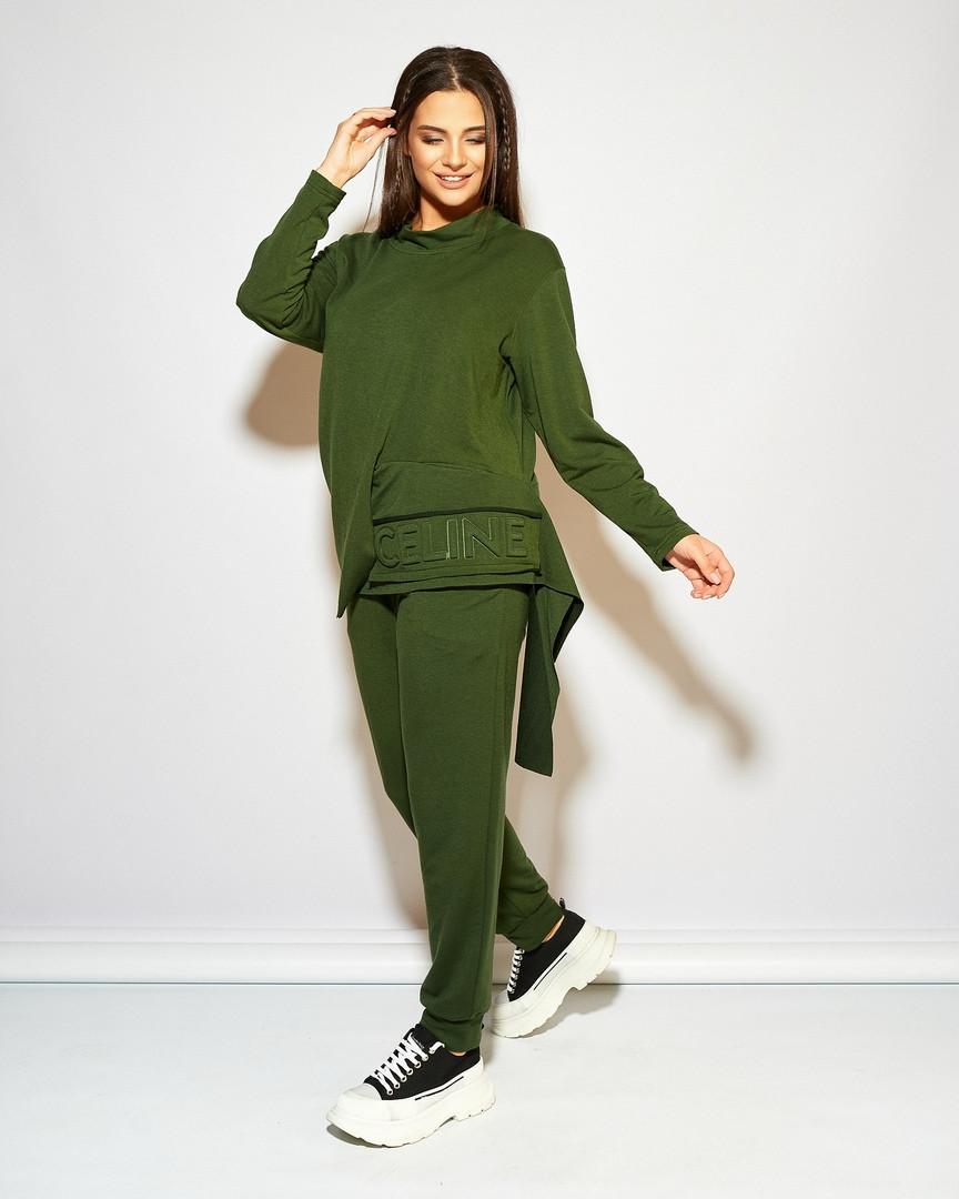 Женский стильный спортивный костюм свободного фасона трикотаж двухнить размер: 48-50, 52-54, 56