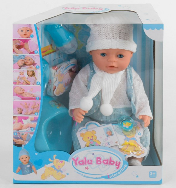 Пупс интерактивный кукла 45 см 8 функций аксессуары Yale Baby BL 030 B