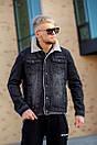Мужская джинсовая куртка с мехом, Black, фото 8