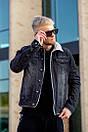 Мужская джинсовая куртка с мехом, Black, фото 5