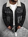 Мужская джинсовая куртка с мехом, Black, фото 2
