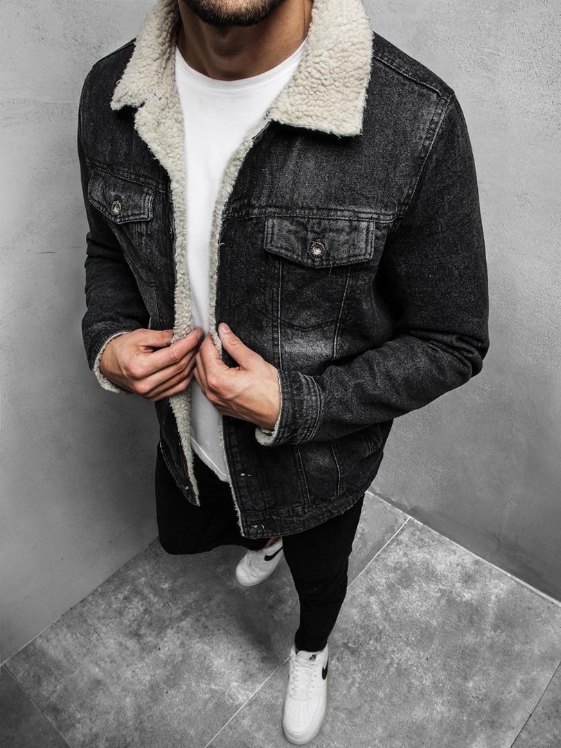 Мужская джинсовая куртка с мехом, Black
