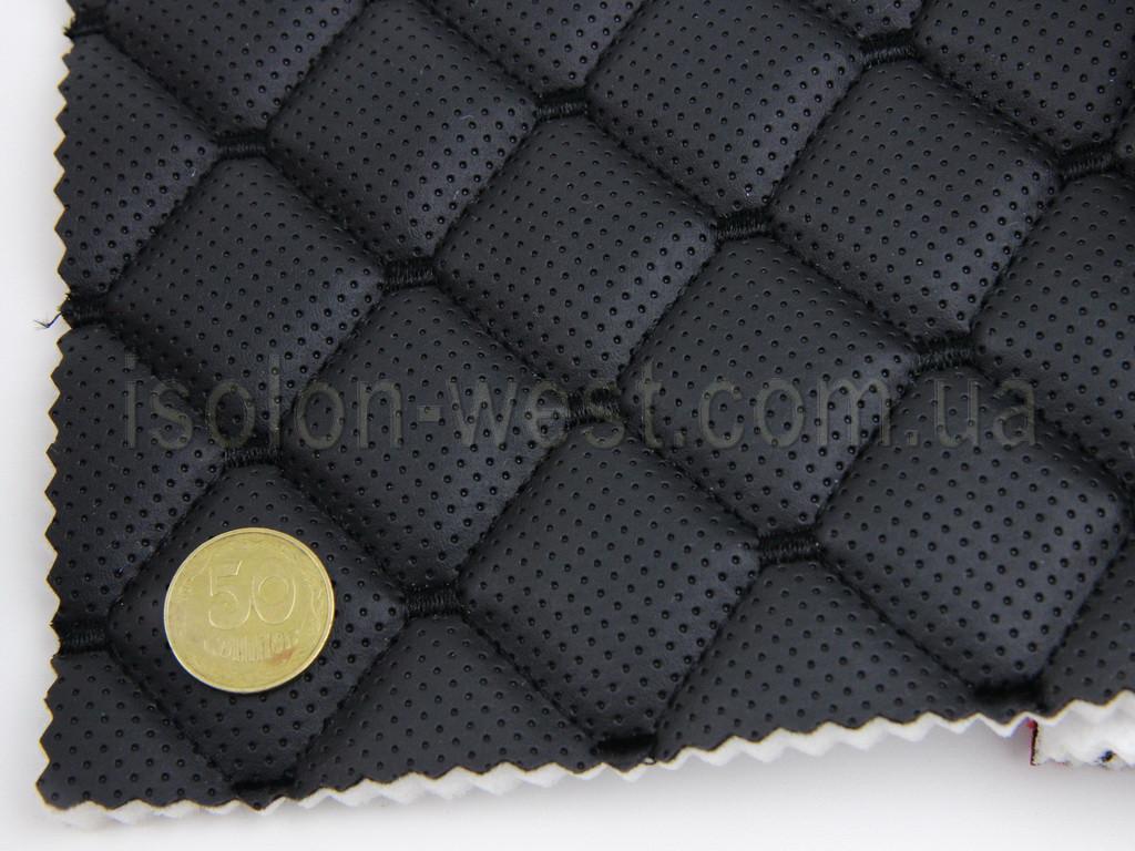 Кожзам псевдо-перфорированный, черный с черный нитью, на поролоне 7 мм, с интерпретацией ромба, ширина 1,40м