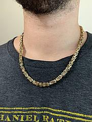 Чоловічий ланцюжок широкий з медичної сталі срібло золото stainless steel, цепь мужская крупная медсталь