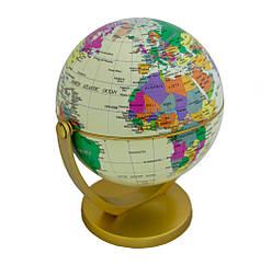 Маленький декоративний глобус що обертається, політичний, Землі, глобус світу з широтами і меридіанами
