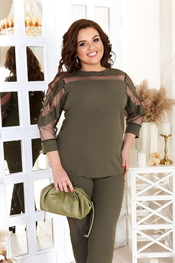 Женский костюм блуза и штаны на резинке креп костюмка + евро сетка размер: 48-50, 52-54, 56-58