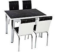 """Раскладной стол обеденный кухонный комплект стол и стулья 3D 3д """"Черный камень гранит мрамор"""" ДСП стекло 982, фото 1"""