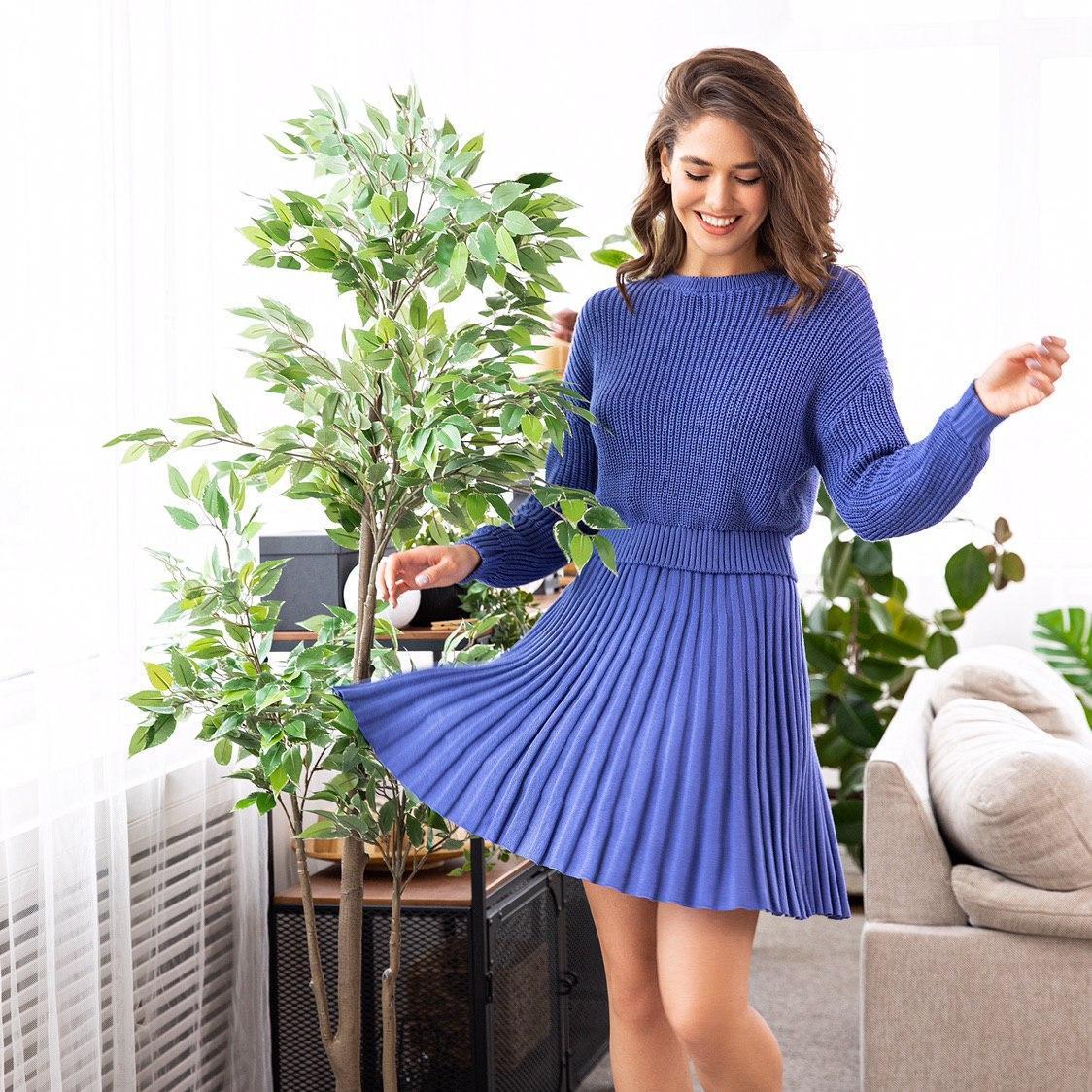 Женский укороченный свитер из 100% хлопка, внизу на манжете (р. 42-46) 6104911