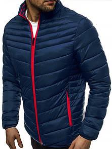 Чоловіча куртка без капюшона, демисезон, темно-синій