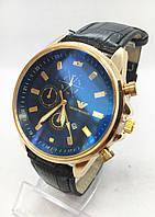 Часы мужские наручные Emporio Armani (Эмпорио Армани), золото с черным ремешком ( код: IBW481YB1 )
