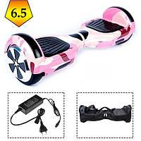 Гироскутер гироборд Smart Balance 6.5 дюймов для детей и взрослых Розовый/камуфляж Автобаланс, сумка