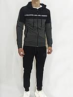 Спортивный костюм мужской трикотаж хлопок Кофта с капюшоном Штаны с манжетами Черный Турция LS202