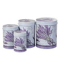 """Емкости для хранения пищевых продуктов """"Sprigs of lavender"""" (4 шт. металл)"""