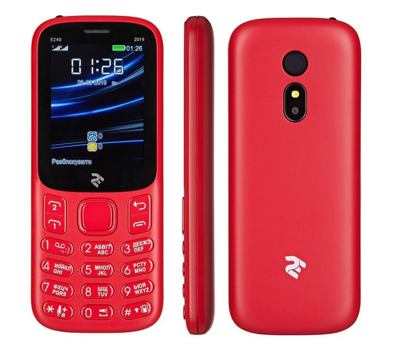Мобільний телефон 2E E240 2019 DUALSIM Red (Червоний)