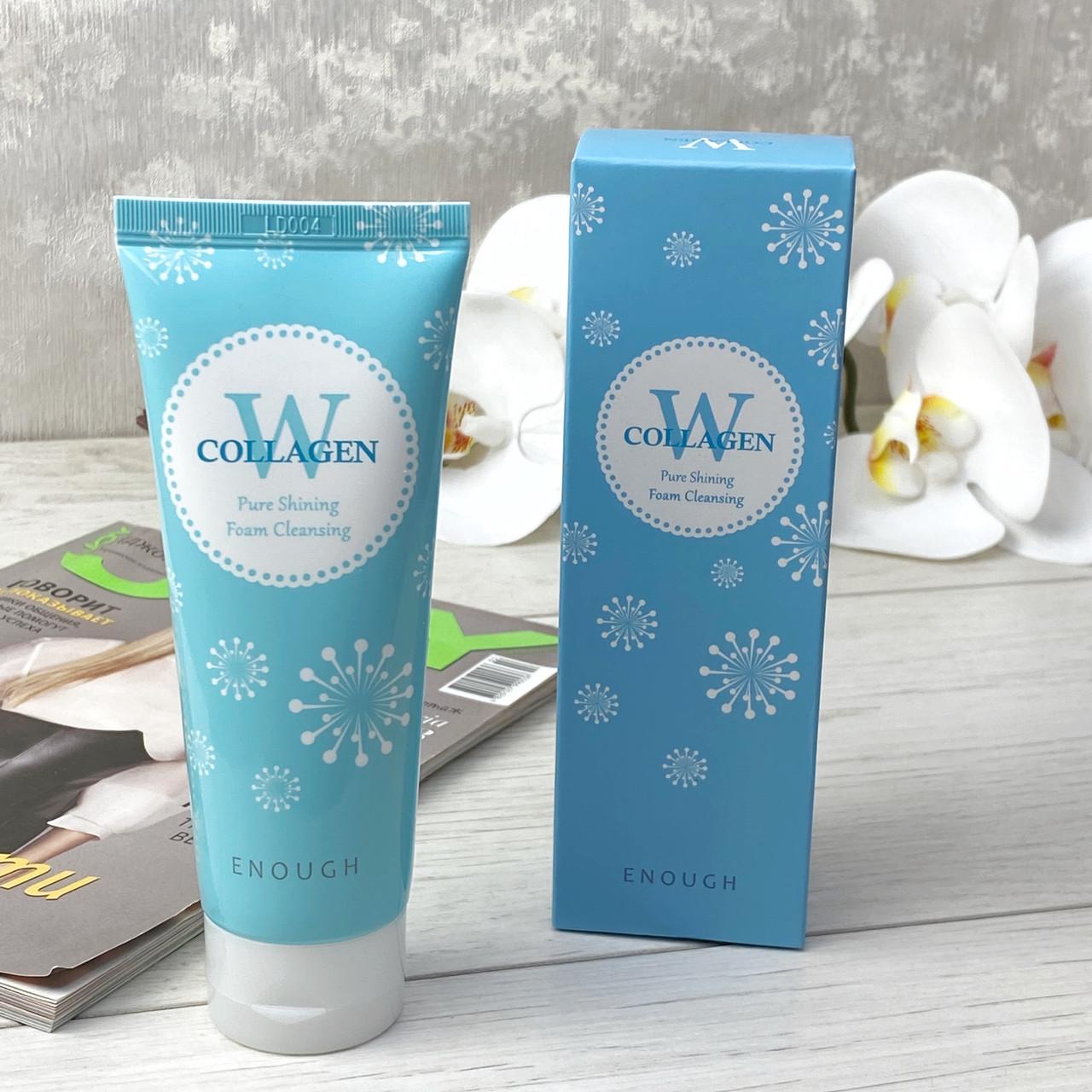 Очищающая пенка с коллагеном W Collagen Pure Shining Foam Cleansing Enough