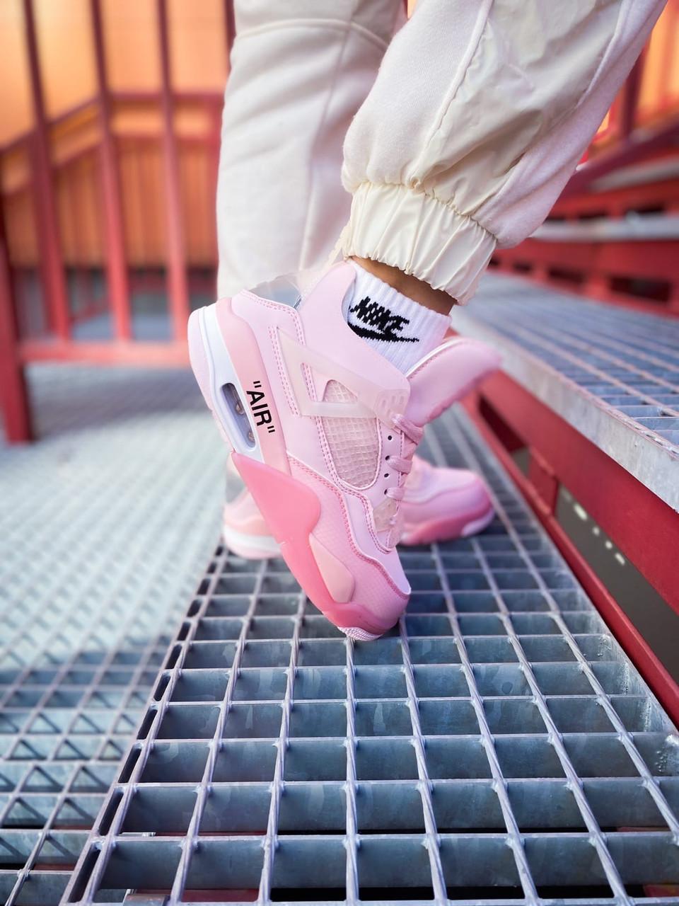 Женские розовые кроссовки Nike Air Jordan 4 (реплика)