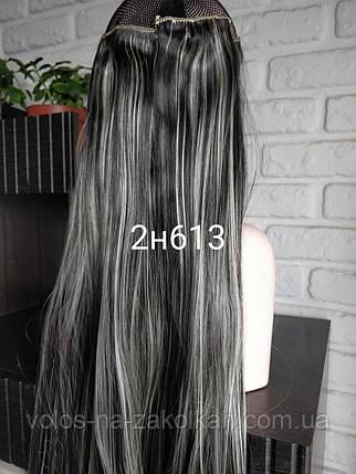 Волосы на заколках цвет мелировка пепел пепельная темная, фото 2