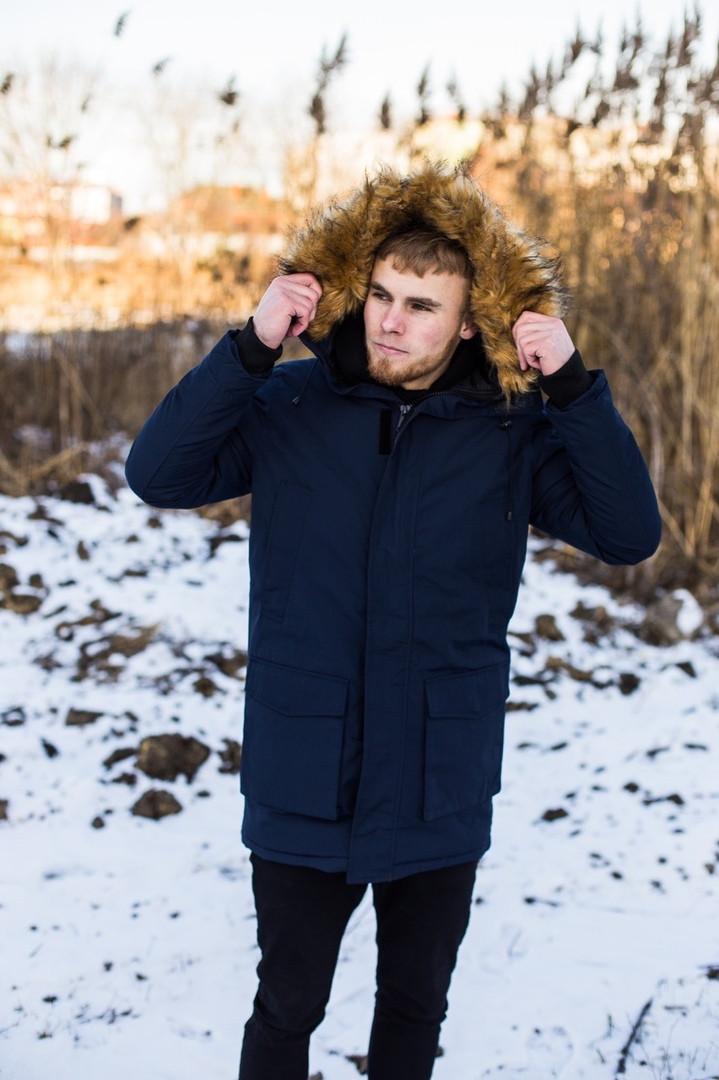 Куртка чоловіча зимова з хутром, темно-синя