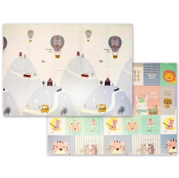 """Дитячий термо килимок складний ігровий двосторонній """"Повітряна куля - Тварини"""" 200х150 см +чохол"""