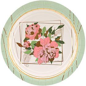 """Тарілки паперові стиль """"Піони"""", 6 шт, 17 см, Набор тарелок """"Пионы"""""""