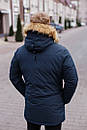 Куртка чоловіча зимова з хутром, темно-синя, фото 4