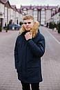 Куртка чоловіча зимова з хутром, темно-синя, фото 9