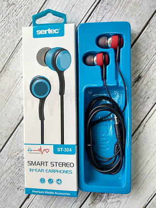 Навушники провідні 3.5mm Sertec ST-304 Black / red (круглий шнур), фото 2