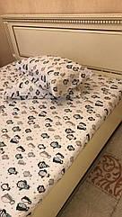 Фланелевая простынь на резинке 180х200см и 2 наволочки Турция Cotton Collection