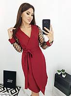 Красивое женское платье на запах до колена с рукавами с сетки арт. 015