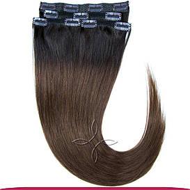 Натуральные Европейские Волосы на Заколках 50 см 115 грамм, Омбре №02-04