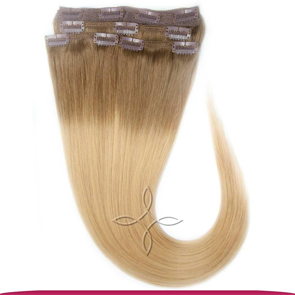 Натуральные Европейские Волосы на Заколках 50 см 115 грамм, Омбре №08-24