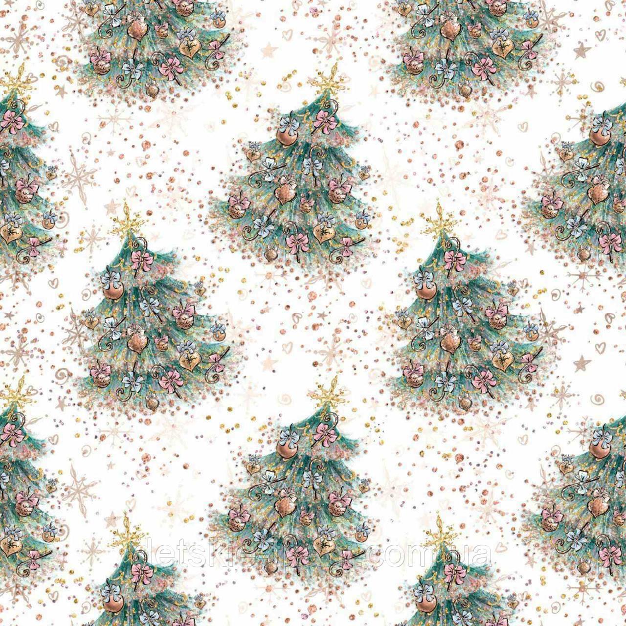 """Хлопковая ткань с цифровой печатью """"Новогодние ёлочки"""""""