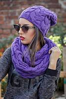 Комплект вязанный шапка на флисе + шарф хомут