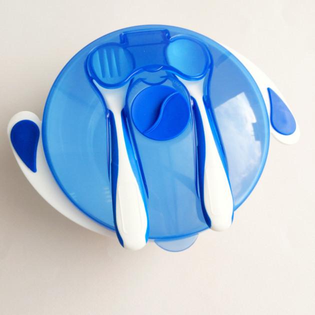Набор Mumlove NP20 10+ тарелка на присоске с крышкой, ложкой и вилкой 300 мл Синий