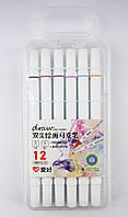 Набор скетч-маркеров для рисования двусторонних Aihao sketchmarker slim, 12шт/уп код: PM513-12