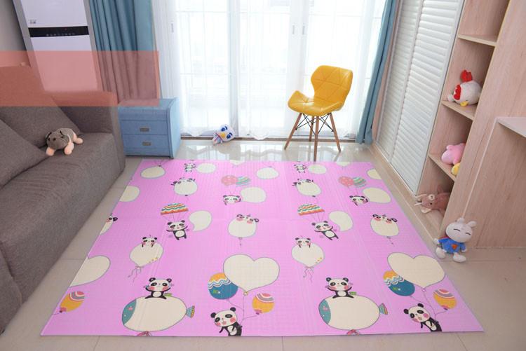 Детский развивающий коврик складной термо голубой и розовый Панда 0,8 х 1,8м