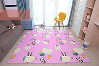 Детский развивающий коврик складной термо голубой и розовый Панда 0,8 х 1,8м, фото 1