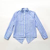 Рубашка для девочки оригинальная р.122,128,134,140 SmileTime с длинным рукавом Crazy, голубая, фото 1