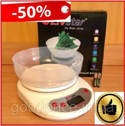 Электронные весы кухонные круглые LIVSTAR с чаше до 5kg