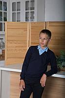Школьная кофта-обманка р.128,134,140,146 SmileTime для мальчика Scholar, темно-синий с голубым, фото 1