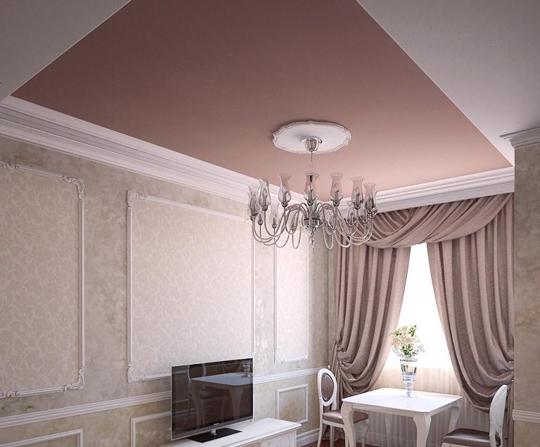 Матовый натяжной потолок в зале, фото 1