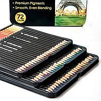 Цветные карандаши в металлическом пенале 72 цвета