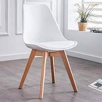 Современный стул из натурального дерева (Бук) Bonro B-487 БЕЛЫЙ