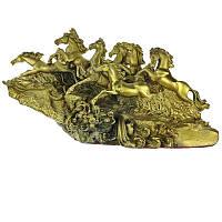Статуэтка Табун из 8 лошадей устремленных вверх 15х27х10 см желтая (4243)