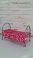 Ліжечко 9342 для ляльки,залізна 45-32-25 см рожева в горох